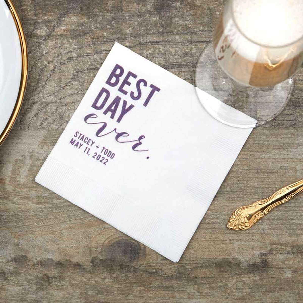 best day ever ink printed napkin