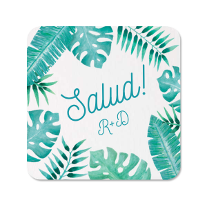 Our custom White Photo/Full Color Square Coaster with Matte Teal/Peacock Ink Digital Print Colors can be customized to complement every last detail of your party.
