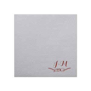 ForYourParty's personalized Stone Gray Linen Like Dinner Napkin with Matte Merlot Imprint Foil Color has a Cheese Flourish graphic  and is good for use in Wine and Cheese themed parties and will look fabulous with your unique touch. Your guests will agree!