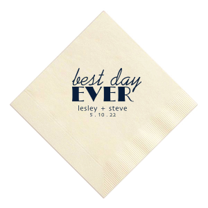 ForYourParty's chic Ivory Cocktail Napkin with Matte Navy Foil can be customized to complement every last detail of your party.