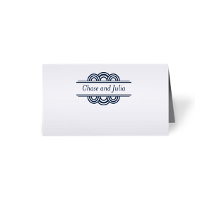 ForYourParty's chic Natural Frost White Signature Place Card with Matte Navy Foil has a Deco Accent graphic and is good for use in Frames themed parties and can be customized to complement every last detail of your party.