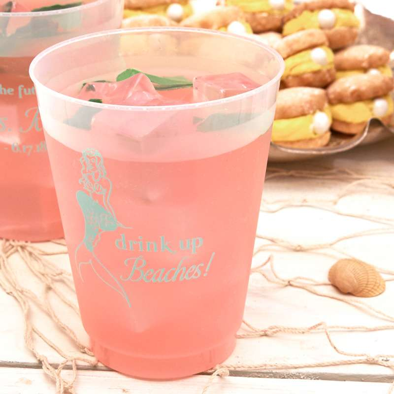 drink up beaches mermaid plastic party cup