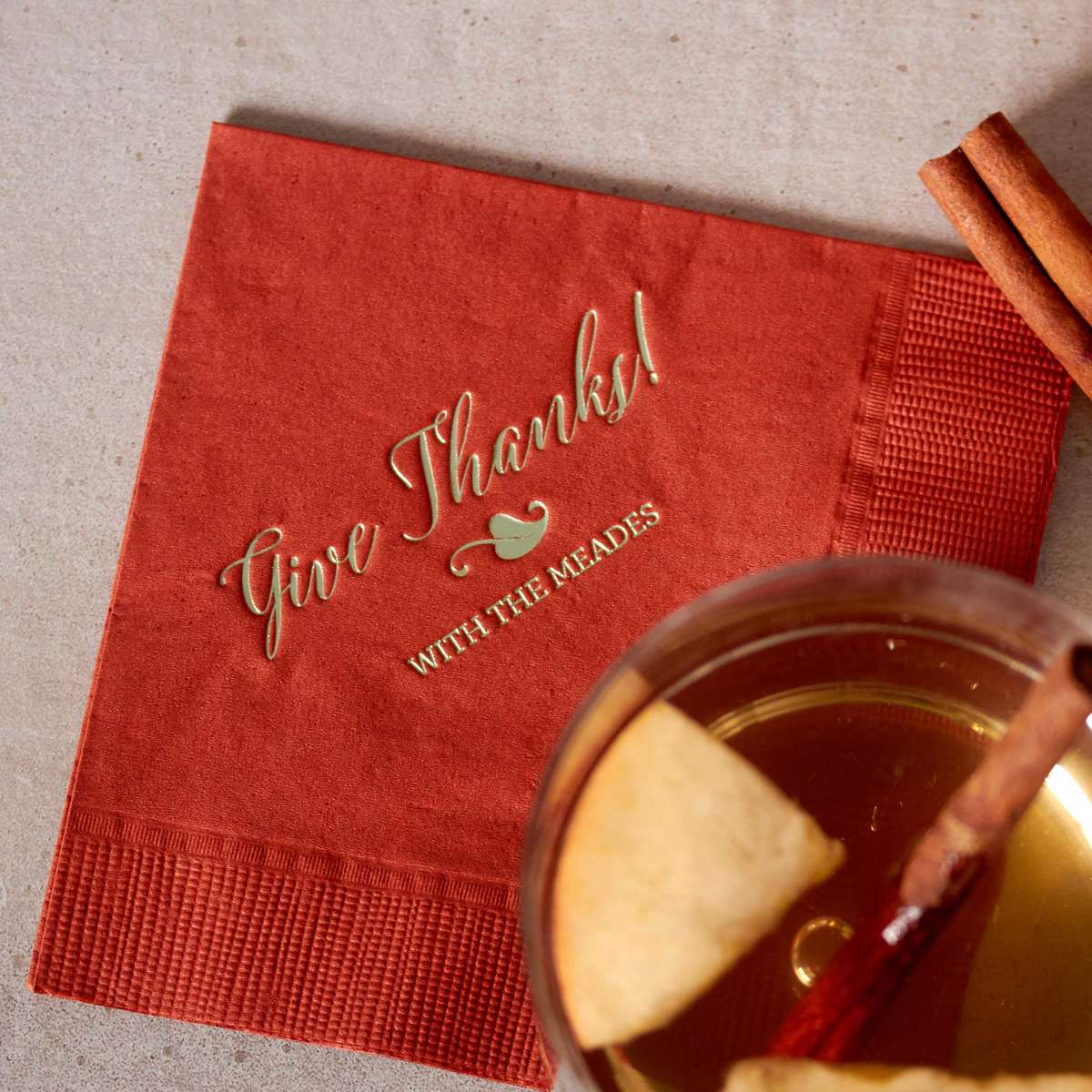 personalized cocktail napkin for thanksgiving