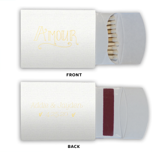 Our custom Linen White Euro Matchbox with Shiny 18 Kt Gold Foil Color has a Amour graphic and is good for use in Words themed parties and will add that special attention to detail that cannot be overlooked.