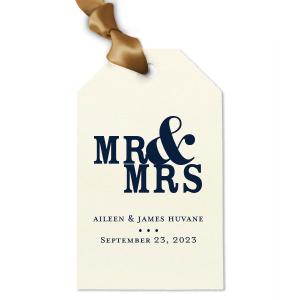 ForYourParty's elegant Strathmore Ivory Luggage Gift Tag with Matte Navy Foil can't be beat. Showcase your style in every detail of your party's theme!