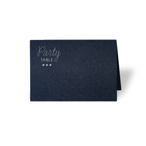 ForYourParty's elegant Stardream Navy Euro Place Card with Matte White Foil can be personalized to match your party's exact theme and tempo.