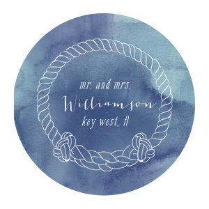 ForYourParty's elegant Blue Watercolor Photo/Full Color Coaster with Matte White Ink Digital Print Colors has a Rope Frame graphic and is good for use in Nautical themed parties and will add that special attention to detail that cannot be overlooked.