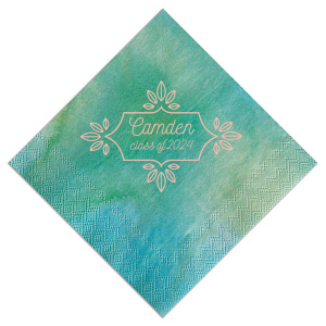 Our custom Watercolor Sea Glass Cocktail Napkin with Matte Pastel Pink Foil has a Love Buds Frame graphic and is good for use in Frames, Floral, Wedding, Graduation themed parties and will give your party the personalized touch every host desires.