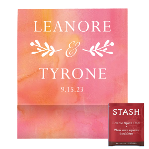 Our beautiful custom Watercolor Hibiscus Tea Favor with Matte White Foil has a Twig Flourish graphic and is good for use in Accents, Floral, Lovely Press themed parties and couldn't be more perfect. It's time to show off your impeccable taste.