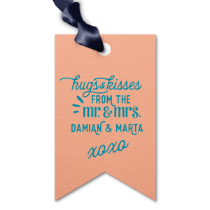 ForYourParty's personalized Poptone Peach Rectangle Gift Tag with Satin Teal / Peacock Foil has a Mr. and Mrs. 3 graphic and is good for use in Words, Wedding themed parties and can be customized to complement every last detail of your party.
