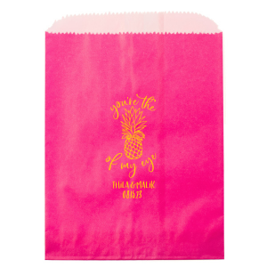 Our custom Hot Pink Party Bag with Matte Sunflower Foil has a Pineapple Tiki graphic and is good for use in Food, Beach/Nautical themed parties and can be customized to complement every last detail of your party.