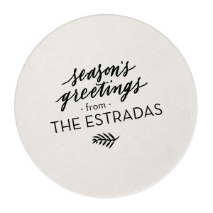 Custom Silver with Black back Ornament Coaster with Satin Leaf Foil has a Season's Greetings graphic and is good for use in Words, Holiday, Christmas themed parties and couldn't be more perfect. It's time to show off your impeccable taste.