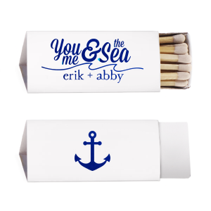 Our beautiful custom Natural Frost White Classic Matchbox with Shiny Royal Blue Foil has a Wave Flourish graphic and a Anchor Pattern graphic and is good for use in Beach/Nautical, Full Bleed, Retirement themed parties and are a must-have for your next event—whatever the celebration!
