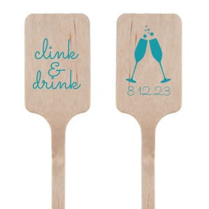 Our custom Matte Teal/Peacock Rectangle Stir Stick with Matte Teal/Peacock Foil Color has a Flutes 2 graphic and is good for use in Drinks, Wedding, Holiday themed parties and will give your party the personalized touch every host desires.