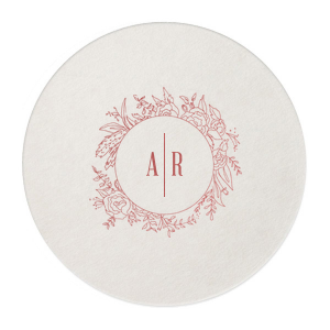 ForYourParty's personalized Eggshell Round Coaster with Shiny Rose Quartz Foil has a Peony Circle Frame graphic and is good for use in Floral, Frames, Wedding themed parties and will add that special attention to detail that cannot be overlooked.