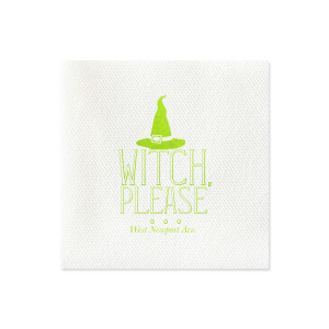 Personalized Black Cocktail Napkin with Satin Sterling Silver Foil has a Witch's Hat graphic and is good for use in Halloween themed parties and will make your guests swoon. Personalize your party's theme today.