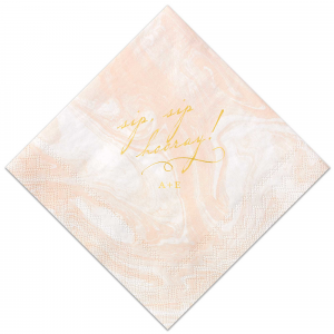 The ever-popular Marble Blush Cocktail Napkin with Shiny 18 Kt Gold Foil can't be beat. Showcase your style in every detail of your party's theme!