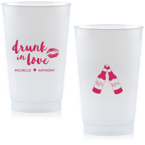 Dress up your drinks with this trendy hand lettered font at your bachelorette weekend or casual wedding reception bar. Custom cups also double as fantastic personalized party favors!