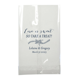 Our personalized Matte Navy Large Cellophane Bag with Matte Navy Foil has a Rose Flourish graphic and is good for use in Floral, Wedding, and Anniversary themed parties and can be customized to complement every last detail of your party.