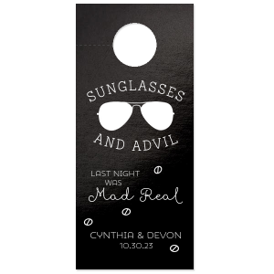Custom Neon Pink Door Hanger with Matte Black Foil has a Ray graphic and is good for use in Fashion, Beach/Nautical themed parties and can be customized to complement every last detail of your party.