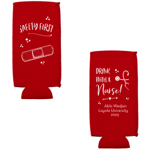 ForYourParty's chic Red Flat Can Cooler with Matte White Ink Cup Ink Colors has a Bandaid graphic and a Stethescope Heart graphic and is good for use in Graduation, Hearts themed parties and can be customized to complement every last detail of your party.