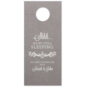 Custom Natural Slate Door Hanger with Matte White Foil Color has a Marigold Vine graphic and is good for use in Accents themed parties and can be personalized to match your party's exact theme and tempo.