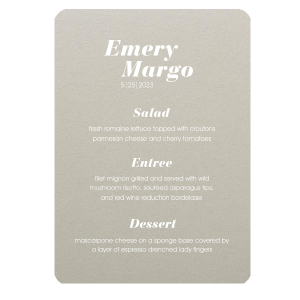 ForYourParty's elegant Natural Gray Rounded Corner Menu with Matte White Foil will impress guests like no other. Make this party unforgettable.