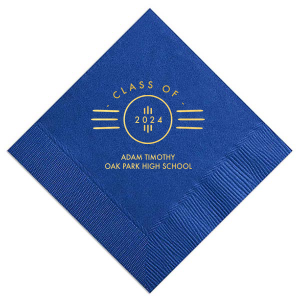 Custom napkins are the perfect addition for the dessert or appetizer table at your Roaring 20's themed graduation party! Use our Royal Blue napkin or personalize to match school colors. Add your graduates name and school name for that special attention to detail that cannot be overlooked.