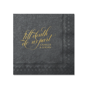 Custom Soft Black Cocktail Napkin with Shiny 18 Kt Gold Foil will add that special attention to detail that cannot be overlooked.