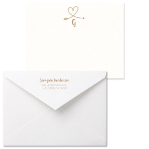 The ever-popular Strathmore White Grande Card with Shiny Champagne Foil has a Arrow Heart graphic and is good for use in Hearts, Frames, Wedding themed parties and can be customized to complement every last detail of your party.