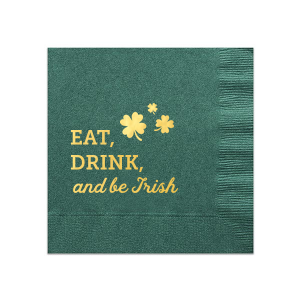 Our personalized Spruce Cocktail Napkin with Shiny 18 Kt Gold Foil has a Clovers graphic and is good for use in St. Patricks Day, Holiday themed parties and will impress guests like no other. Make this party unforgettable.