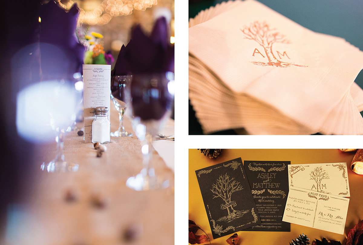 Customized Wedding Napkins and Wedding Menus and Wedding Invitations