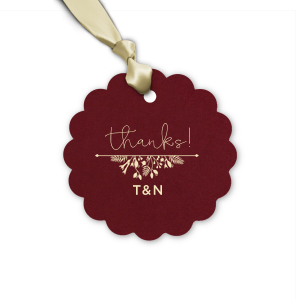 The ever-popular Natural Cranberry Heart Gift Tag with Matte Ivory Foil Color has a Garden Flourish 2 graphic and is good for use in Wedding, Love and Garden themed parties and will impress guests like no other. Make this party unforgettable.