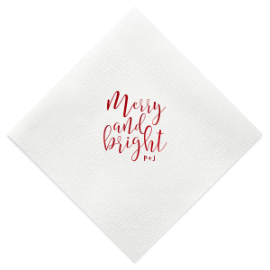 Our custom White Linen Like Cocktail Napkin with Shiny Convertible Red Foil Color can be personalized to match your party's exact theme and tempo.