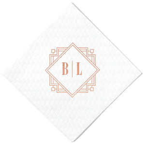 Our personalized White Cocktail Napkin with Shiny Rose Gold Foil has a Deco Frame 5 graphic and is good for use in Frames, Geometric, Wedding themed parties and couldn't be more perfect. It's time to show off your impeccable taste.
