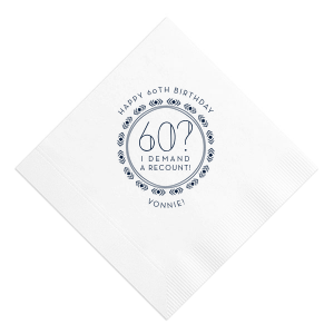 ForYourParty's elegant White Cocktail Napkin with Matte Navy Foil has a Diamond Wreath graphic and is good for use in Frames, Wedding themed parties and will make your guests swoon. Personalize your party's theme today.
