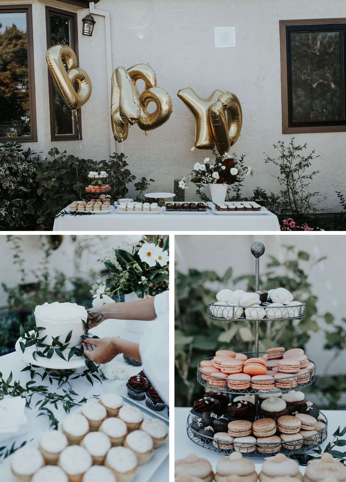 boho themed backyard baby shower desserts