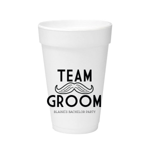 The ever-popular Matte Black Ink 16 oz Styrofoam Cup with Matte Black Ink Colors has a Mustache 2 Outline graphic and is good for use in Bachelor Parties, Father's Day, and Birthday themed parties and will give your party the personalized touch every host desires.