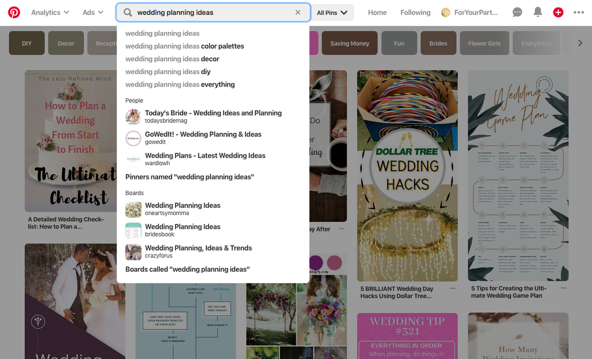 Pinterest wedding planning website