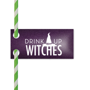 Drink Up Witches Straw Tag