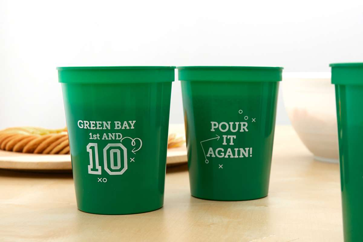 first and 10 pour it again football stadium cups