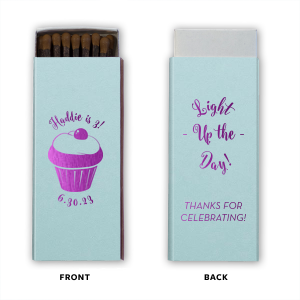 Our personalized Poptone Sky Blue Candle Matchbox with Shiny Amethyst Foil Color has a Kid Cupcake graphic and is good for use in Kid Birthday, Food,  and Birthday themed parties and can be customized to complement every last detail of your party.