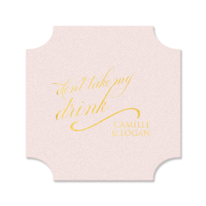 Custom Blush with Kraft back Hexagon Coaster with Shiny 18 Kt Gold Foil can be personalized to match your party's exact theme and tempo.