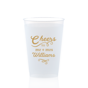 Personalized Gold Ink 12 oz Frosted Plastic Cup with Gold Ink Cup Ink Colors can be personalized to match your party's exact theme and tempo.