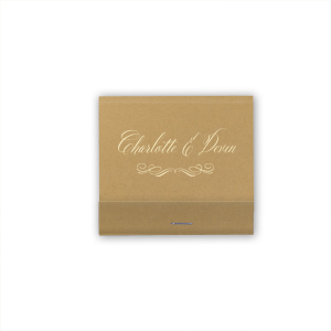 The ever-popular Stardream Old Gold Barrel Matchbox with Matte Ivory Foil has a Flourish 17 graphic and will give your party the personalized touch every host desires.