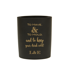 The ever-popular Black Slim Can Cooler with Gold Ink Cup Ink Colors will impress guests like no other. Make this party unforgettable.