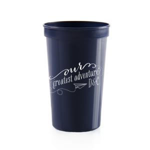 Our custom Navy 16 oz Stadium Cup with Matte White Ink Cup Ink Colors has a Paper Airplane graphic and is good for use in Kid Birthday, Birthday themed parties and can be personalized to match your party's exact theme and tempo.