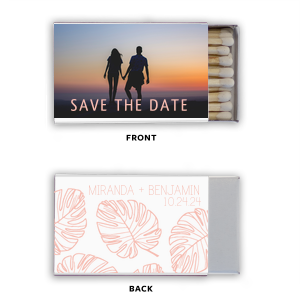 Our custom Photo/Full Color Matchbox with Matte Pastel Pink Ink Print Color has a Palm Pattern graphic and is good for use in Floral and Beach themed parties and will make your guests swoon. Personalize your party's theme today.