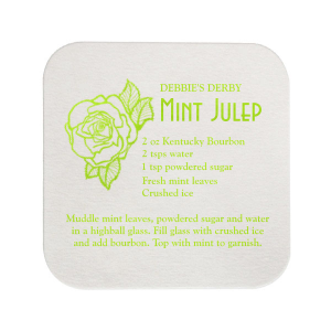 Our personalized Eggshell Square Coaster with Shiny Kiwi / Lime Foil has a Flower Trio graphic and is good for use in Floral, Wedding, Birthday themed parties and are a must-have for your next event—whatever the celebration!
