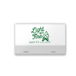For Your Party's elegant Amethyst Shimmer 30 Strike Matchbook with Shiny Green Tea Foil Color has a Light My Fire graphic and is good for use in Wedding themed parties and are a must-have for your next event—whatever the celebration!